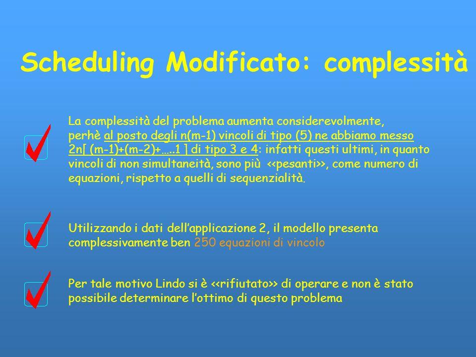 Scheduling Modificato: complessità La complessità del problema aumenta considerevolmente, perhè al posto degli n(m-1) vincoli di tipo (5) ne abbiamo m