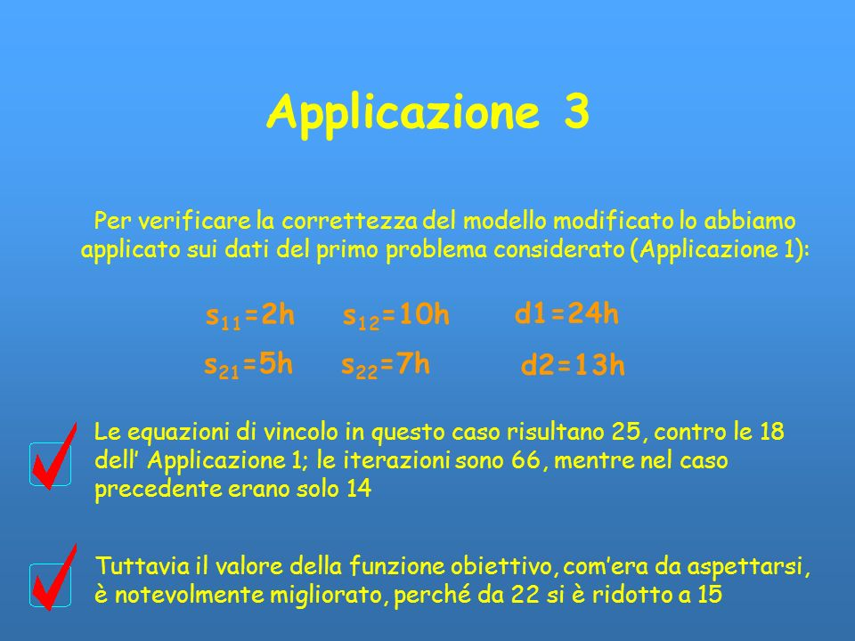 Applicazione 3 Per verificare la correttezza del modello modificato lo abbiamo applicato sui dati del primo problema considerato (Applicazione 1): s 1