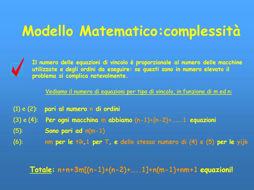 Modello Matematico:complessità Il numero delle equazioni di vincolo è proporzionale al numero delle macchine utilizzate e degli ordini da eseguire: se