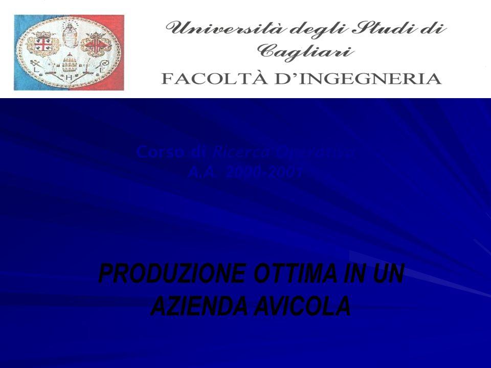 Corso di Ricerca Operativa A.A. 2000-2001 PRODUZIONE OTTIMA IN UN AZIENDA AVICOLA