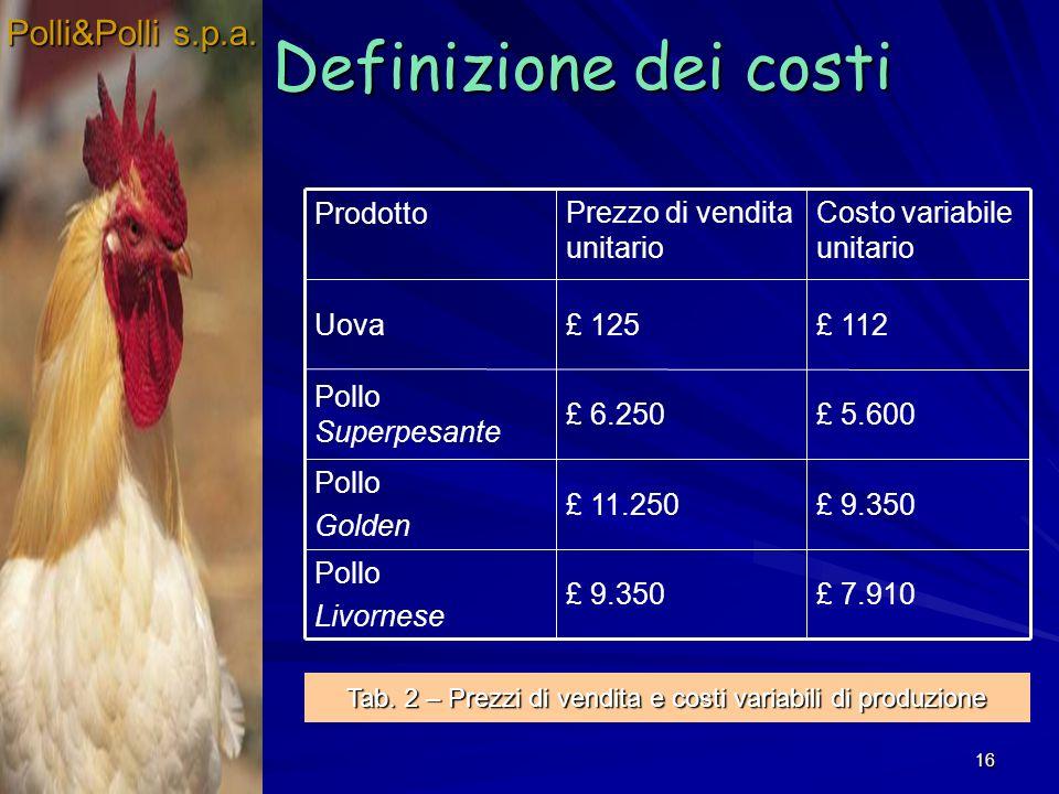 16 Definizione dei costi Polli&Polli s.p.a.