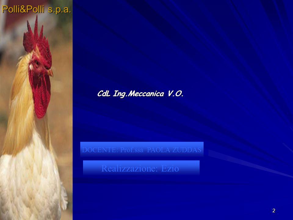 2 DOCENTE: Prof.ssa PAOLA ZUDDAS Realizzazione: Ezio CdL Ing.Meccanica V.O. Polli&Polli s.p.a.