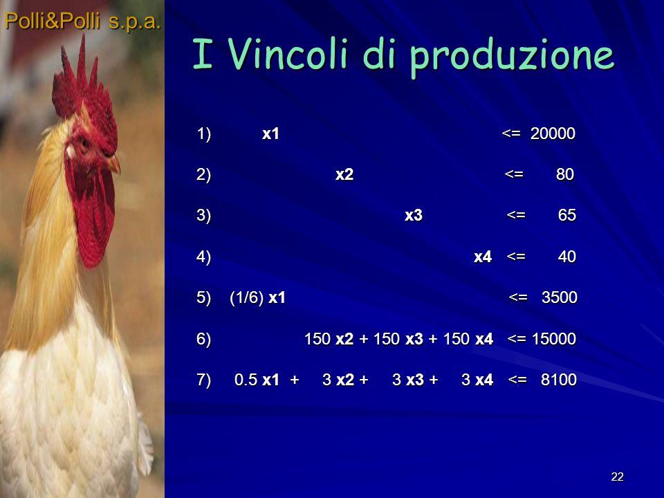 22 I Vincoli di produzione Polli&Polli s.p.a.