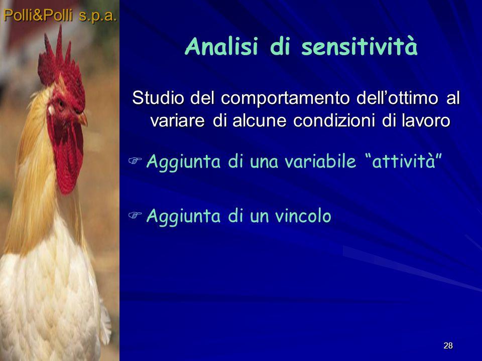 28 Studio del comportamento dellottimo al variare di alcune condizioni di lavoro Polli&Polli s.p.a. Analisi di sensitività Aggiunta di una variabile a