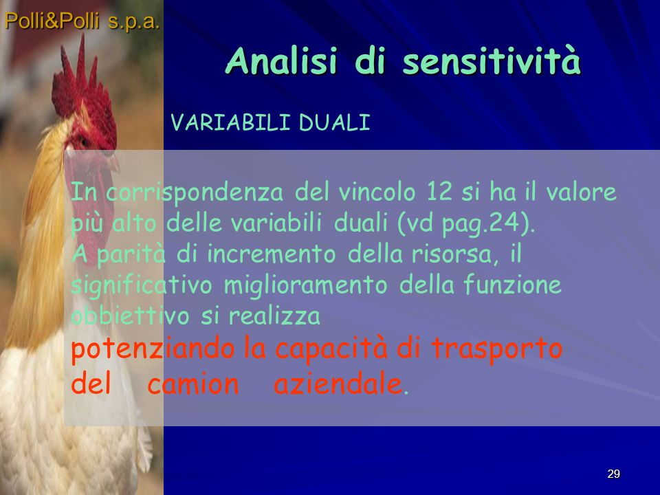 29 Analisi di sensitività Analisi di sensitività Polli&Polli s.p.a.