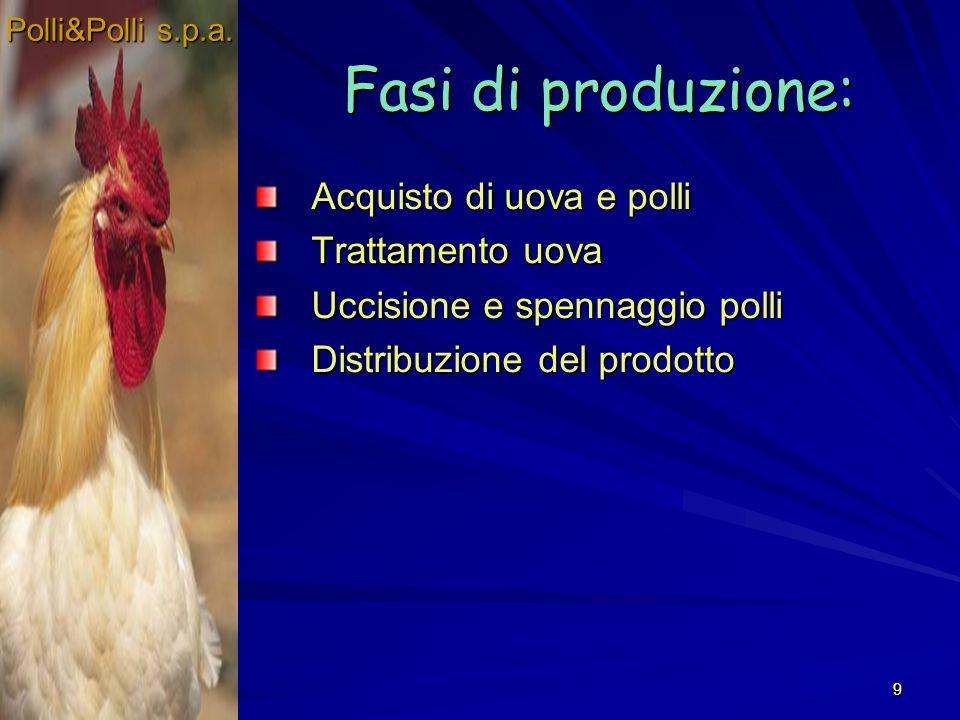 9 Fasi di produzione: Acquisto di uova e polli Trattamento uova Uccisione e spennaggio polli Distribuzione del prodotto Polli&Polli s.p.a.