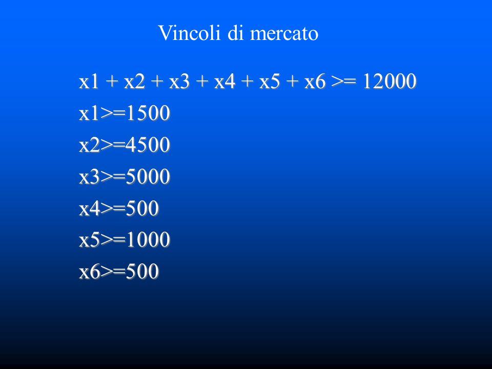 x1 + x2 + x3 + x4 + x5 + x6 >= 12000 x1>=1500x2>=4500x3>=5000x4>=500x5>=1000x6>=500 Vincoli di mercato