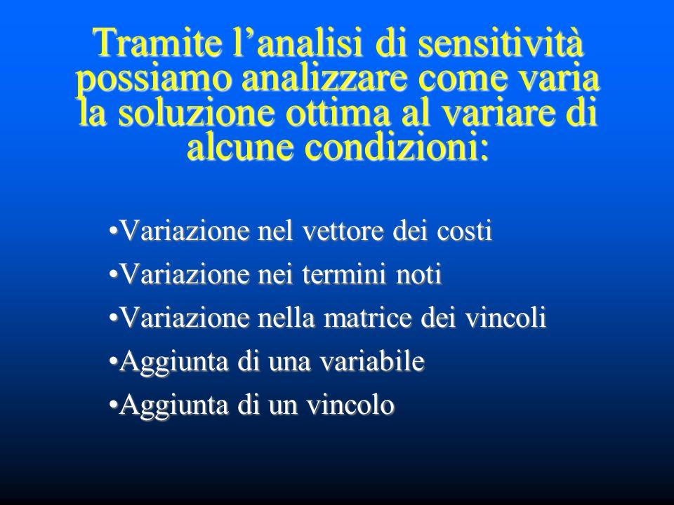 Tramite lanalisi di sensitività possiamo analizzare come varia la soluzione ottima al variare di alcune condizioni: Variazione nel vettore dei costi V