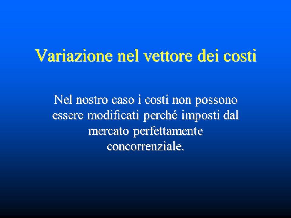 Variazione nel vettore dei costi Nel nostro caso i costi non possono essere modificati perché imposti dal mercato perfettamente concorrenziale.