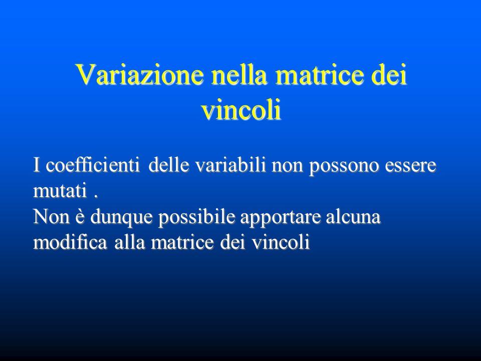 Variazione nella matrice dei vincoli I coefficienti delle variabili non possono essere mutati. Non è dunque possibile apportare alcuna modifica alla m