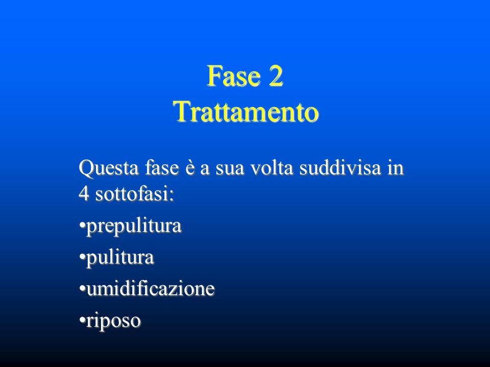 Fase 2 Trattamento Questa fase è a sua volta suddivisa in 4 sottofasi: prepuliturapulituraumidificazioneriposo
