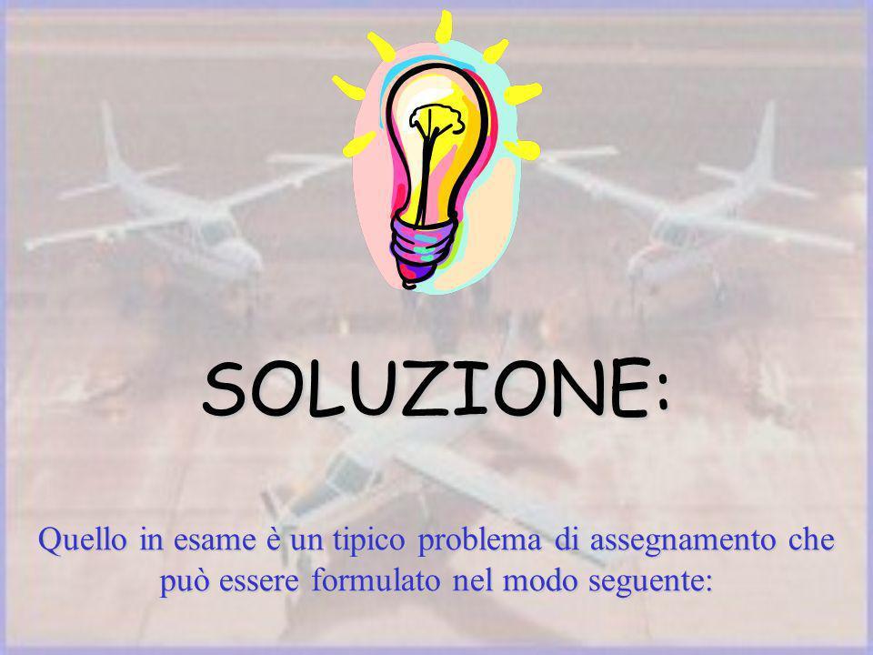 SOLUZIONE: Quello in esame è un tipico problema di assegnamento che può essere formulato nel modo seguente: