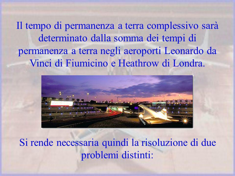 Il tempo di permanenza a terra complessivo sarà determinato dalla somma dei tempi di permanenza a terra negli aeroporti Leonardo da Vinci di Fiumicino e Heathrow di Londra.