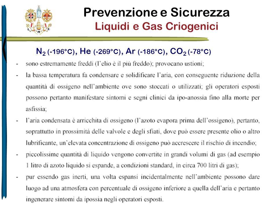 Prevenzione e Sicurezza Liquidi e Gas Criogenici N 2 (-196°C), He (-269°C), Ar (-186°C), CO 2 (-78°C)