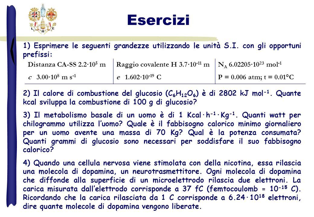 1) Esprimere le seguenti grandezze utilizzando le unità S.I. con gli opportuni prefissi: 2) Il calore di combustione del glucosio (C 6 H 12 O 6 ) è di