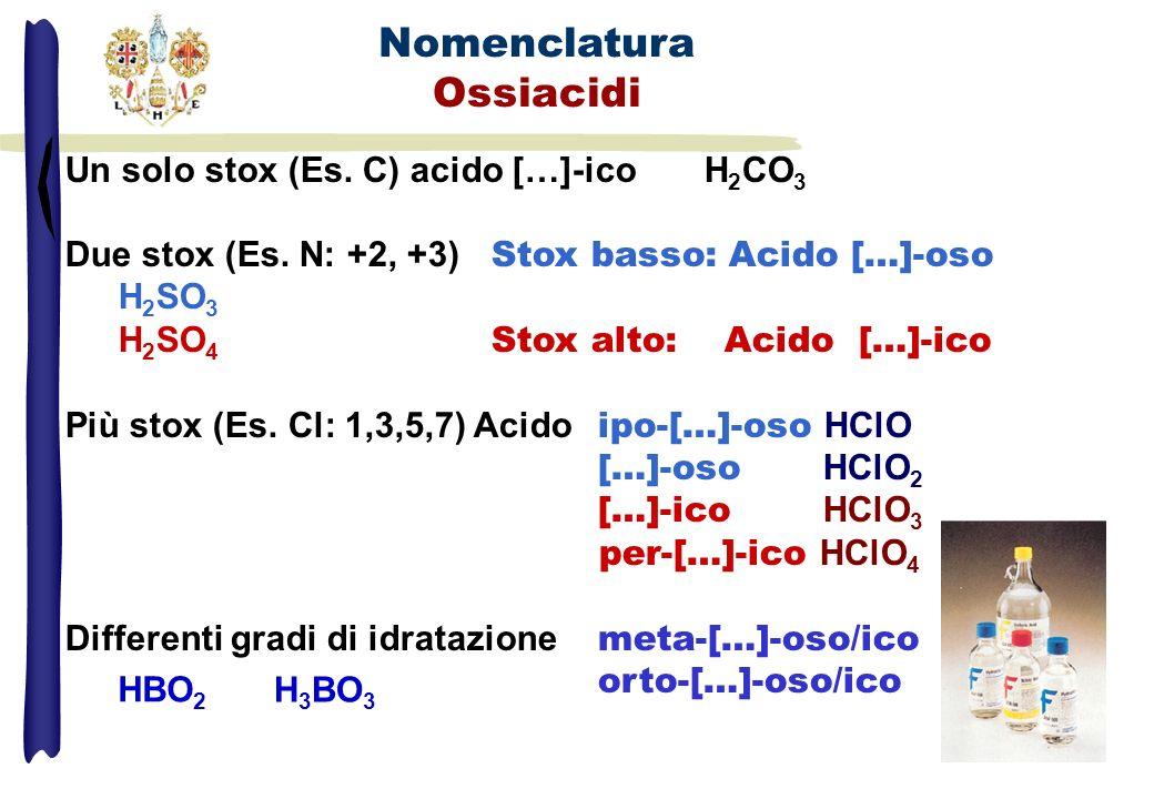 Un solo stox (Es. C) acido […]-ico H 2 CO 3 Due stox (Es. N: +2, +3) Stox basso: Acido […]-oso H 2 SO 3 H 2 SO 4 Stox alto: Acido […]-ico Più stox (Es