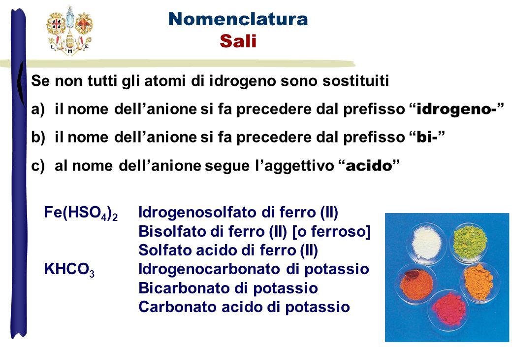 Se non tutti gli atomi di idrogeno sono sostituiti a)il nome dellanione si fa precedere dal prefisso idrogeno- b)il nome dellanione si fa precedere da