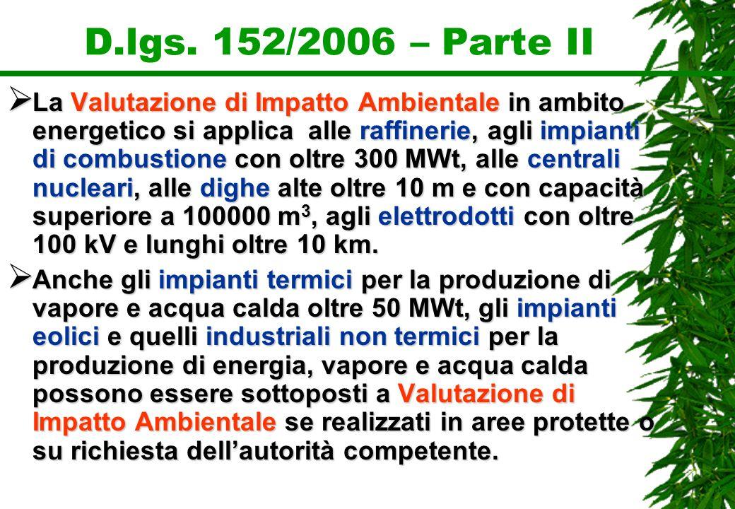 D.lgs. 152/2006 – Parte II La Valutazione di Impatto Ambientale in ambito energetico si applica alle raffinerie, agli impianti di combustione con oltr