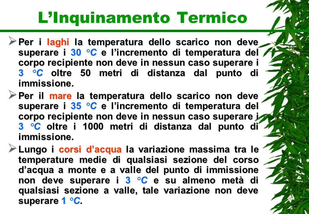 LInquinamento Termico Per i laghi la temperatura dello scarico non deve superare i 30 °C e lincremento di temperatura del corpo recipiente non deve in
