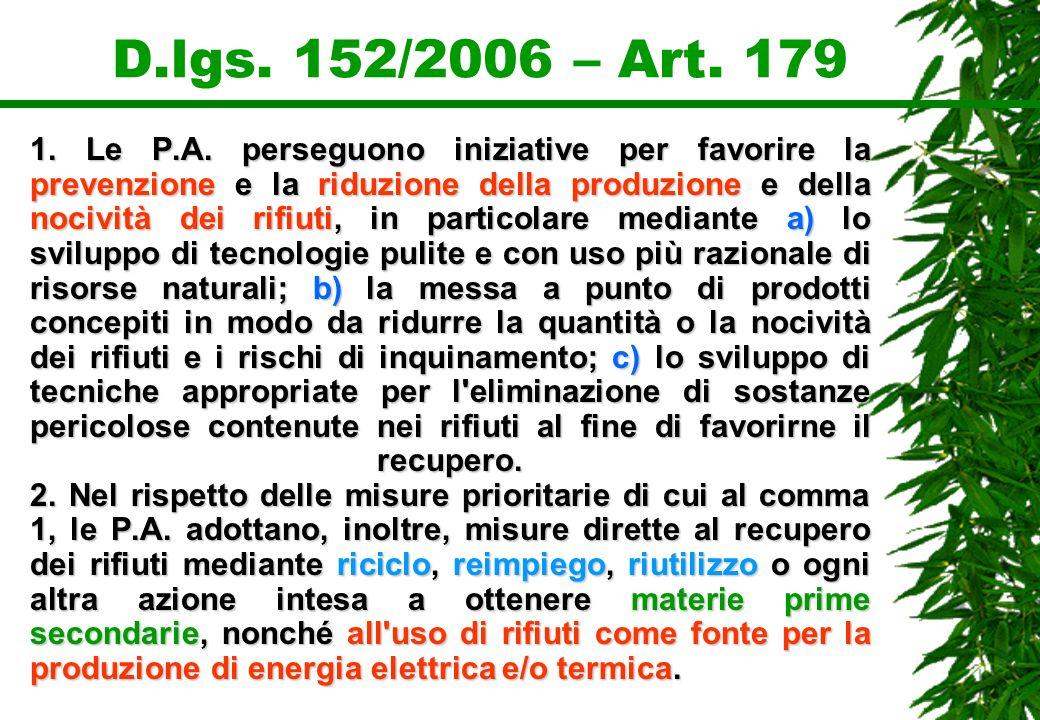 D.lgs. 152/2006 – Art. 179 1. Le P.A. perseguono iniziative per favorire la prevenzione e la riduzione della produzione e della nocività dei rifiuti,