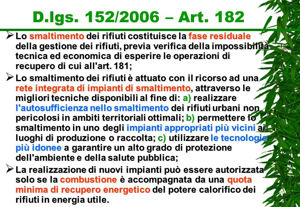 D.lgs. 152/2006 – Art. 182 Lo smaltimento dei rifiuti costituisce la fase residuale della gestione dei rifiuti, previa verifica della impossibilità te