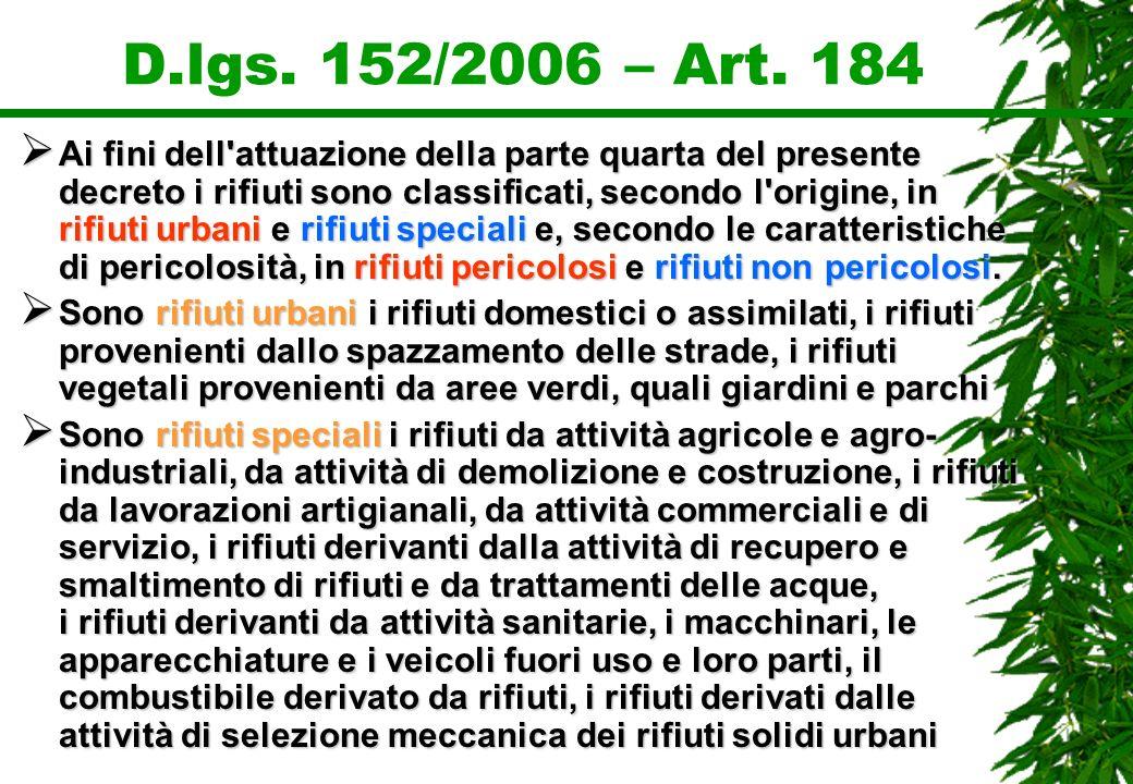 D.lgs. 152/2006 – Art. 184 Ai fini dell'attuazione della parte quarta del presente decreto i rifiuti sono classificati, secondo l'origine, in rifiuti