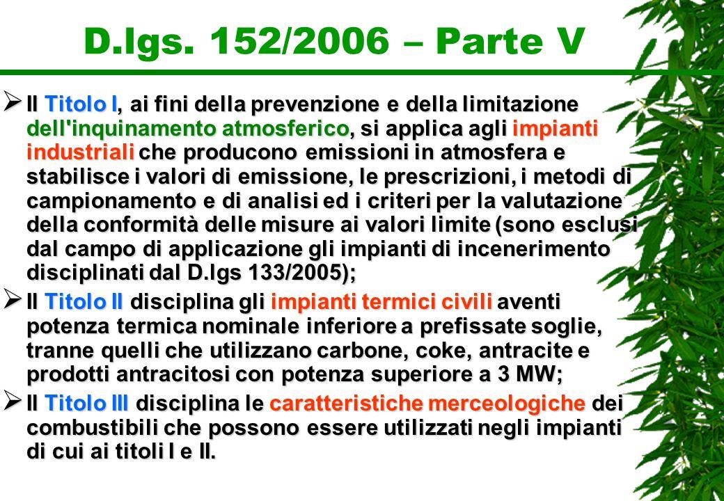 D.lgs. 152/2006 – Parte V Il Titolo I, ai fini della prevenzione e della limitazione dell'inquinamento atmosferico, si applica agli impianti industria