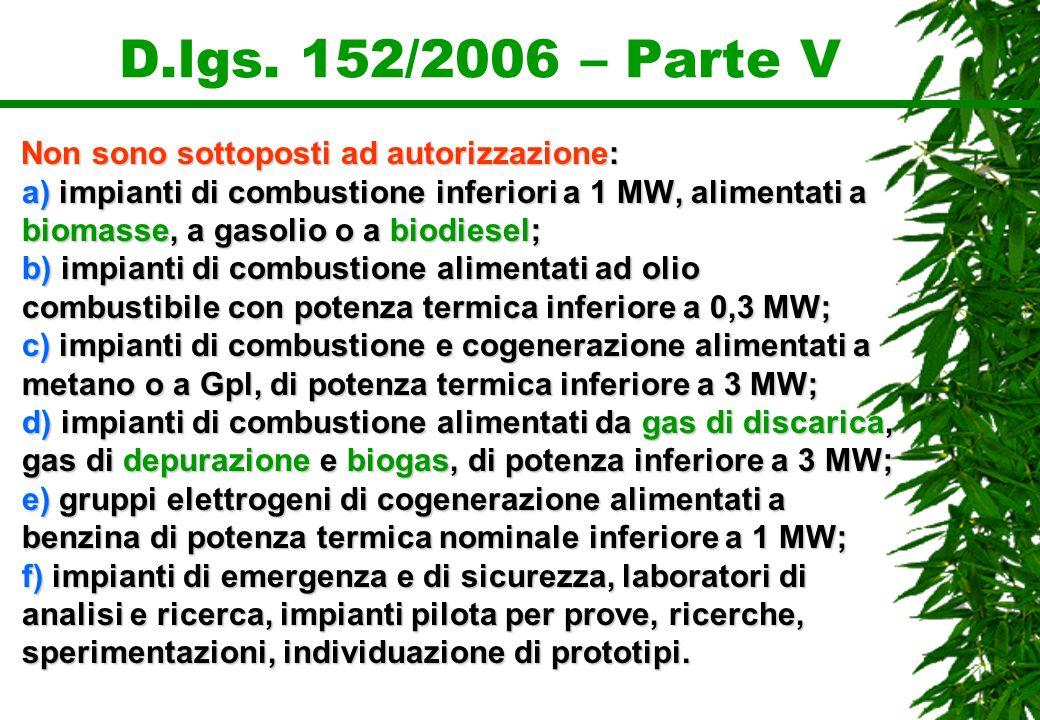D.lgs. 152/2006 – Parte V Non sono sottoposti ad autorizzazione: a) impianti di combustione inferiori a 1 MW, alimentati a biomasse, a gasolio o a bio