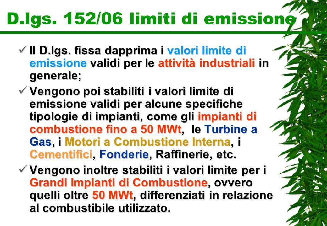 D.lgs. 152/06 limiti di emissione Il D.lgs. fissa dapprima i valori limite di emissione validi per le attività industriali in generale; Il D.lgs. fiss