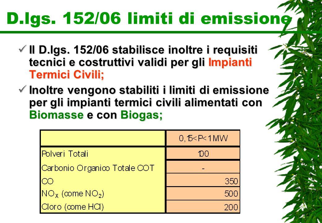 D.lgs. 152/06 limiti di emissione Il D.lgs. 152/06 stabilisce inoltre i requisiti tecnici e costruttivi validi per gli Impianti Termici Civili; Il D.l