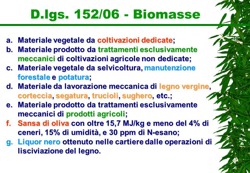 D.lgs. 152/06 - Biomasse a.Materiale vegetale da coltivazioni dedicate; b.Materiale prodotto da trattamenti esclusivamente meccanici di coltivazioni a