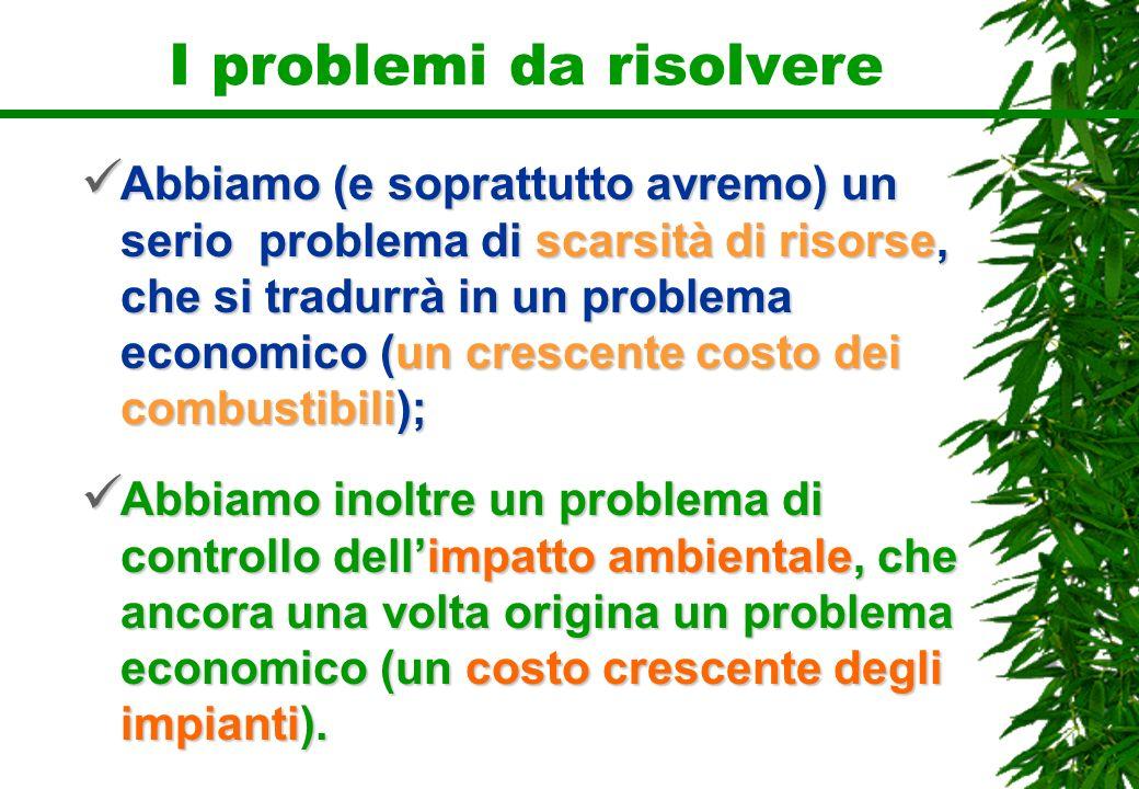 I problemi da risolvere Abbiamo (e soprattutto avremo) un serio problema di scarsità di risorse, che si tradurrà in un problema economico (un crescent