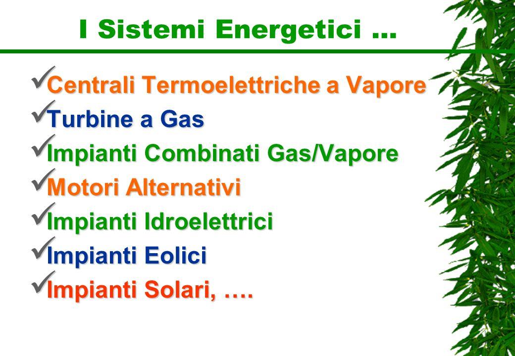 I Sistemi Energetici … Centrali Termoelettriche a Vapore Centrali Termoelettriche a Vapore Turbine a Gas Turbine a Gas Impianti Combinati Gas/Vapore I