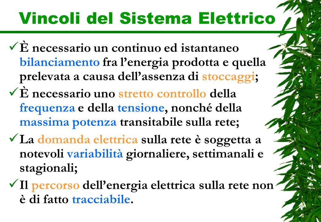 Vincoli del Sistema Elettrico È necessario un continuo ed istantaneo bilanciamento fra lenergia prodotta e quella prelevata a causa dellassenza di sto