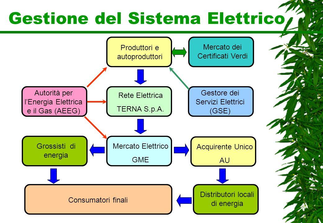 Gestione del Sistema Elettrico Produttori e autoproduttori Consumatori finali Rete Elettrica TERNA S.p.A. Mercato Elettrico GME Acquirente Unico AU Gr