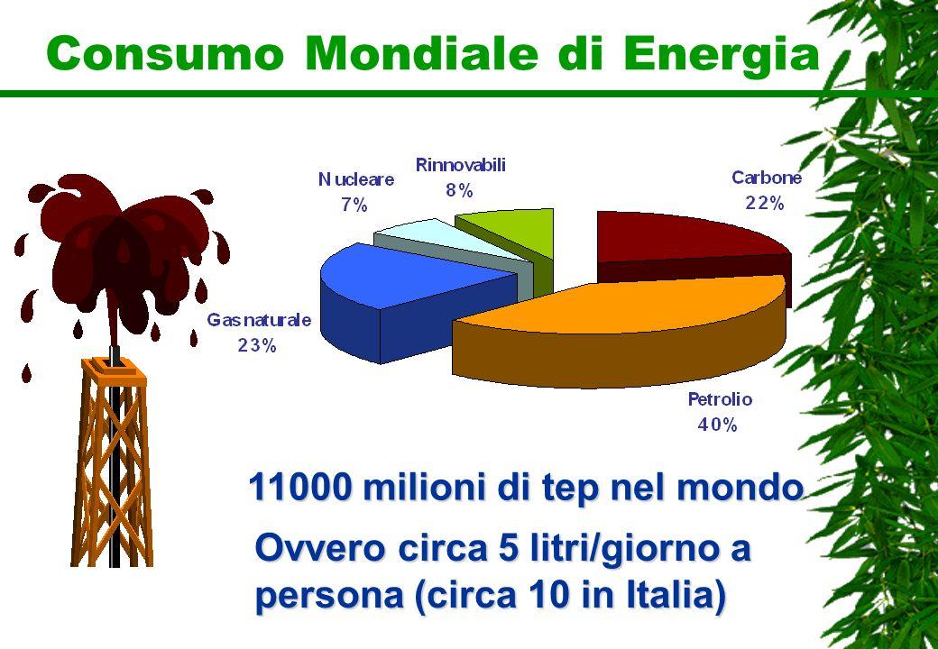 Consumo Mondiale di Energia 11000 milioni di tep nel mondo Ovvero circa 5 litri/giorno a persona (circa 10 in Italia)
