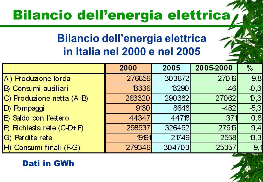 Bilancio dellenergia elettrica Dati in GWh Bilancio dellenergia elettrica in Italia nel 2000 e nel 2005