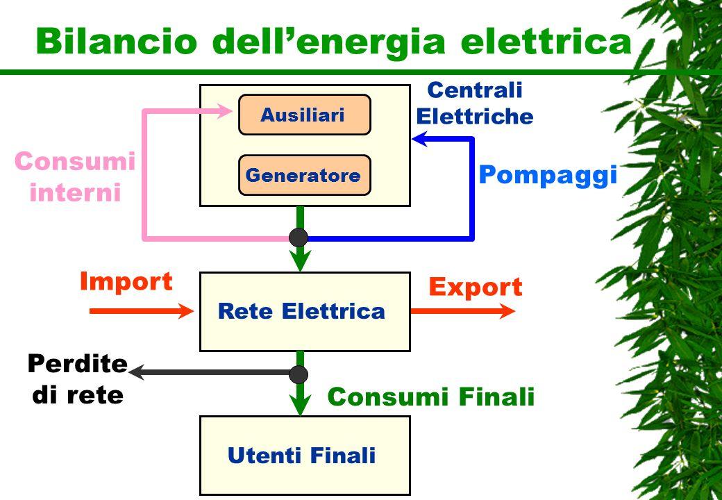 Bilancio dellenergia elettrica Rete Elettrica Utenti Finali Centrali Elettriche Generatore Ausiliari Import Export Pompaggi Consumi interni Perdite di