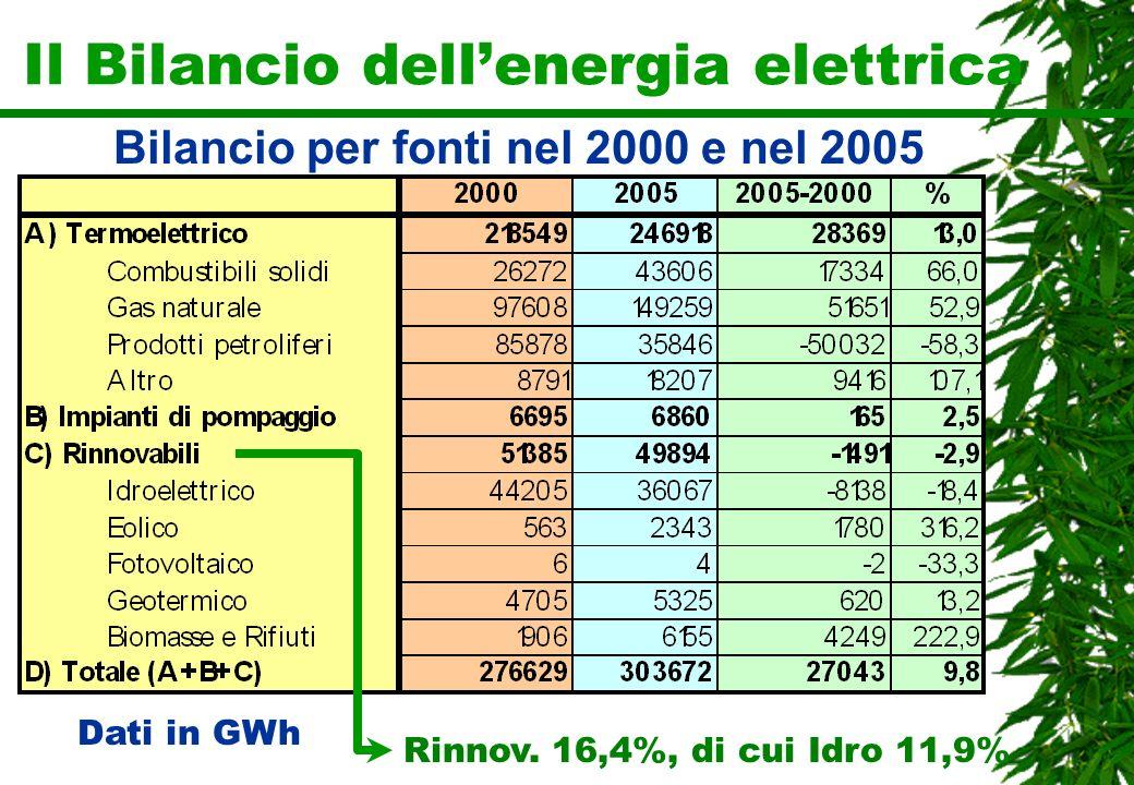 Il Bilancio dellenergia elettrica Dati in GWh Bilancio per fonti nel 2000 e nel 2005 Rinnov. 16,4%, di cui Idro 11,9%