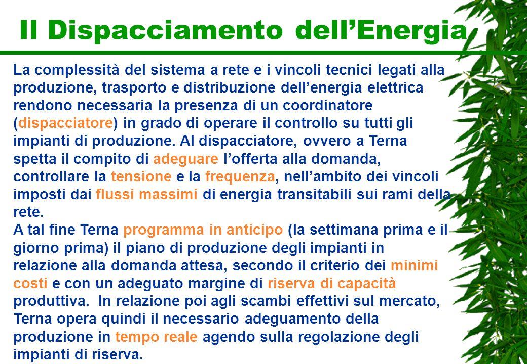 Il Dispacciamento dellEnergia La complessità del sistema a rete e i vincoli tecnici legati alla produzione, trasporto e distribuzione dellenergia elet