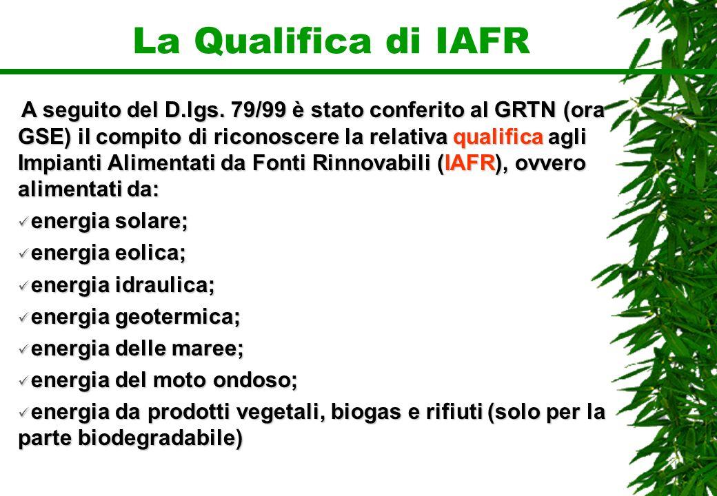 La Qualifica di IAFR A seguito del D.lgs. 79/99 è stato conferito al GRTN (ora GSE) il compito di riconoscere la relativa qualifica agli Impianti Alim