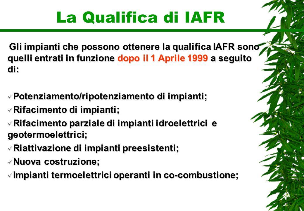 La Qualifica di IAFR Gli impianti che possono ottenere la qualifica IAFR sono quelli entrati in funzione dopo il 1 Aprile 1999 a seguito di: Potenziam