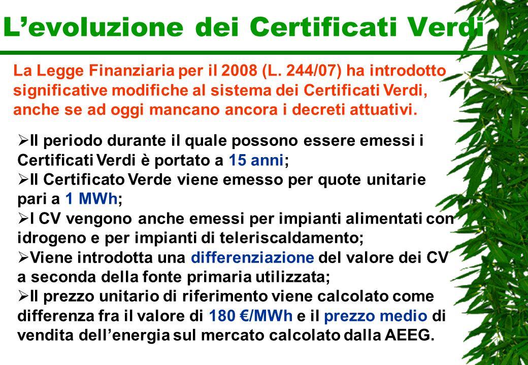 Levoluzione dei Certificati Verdi La Legge Finanziaria per il 2008 (L. 244/07) ha introdotto significative modifiche al sistema dei Certificati Verdi,