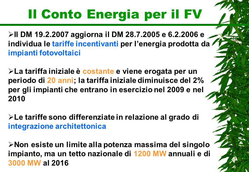 Il Conto Energia per il FV Il DM 19.2.2007 aggiorna il DM 28.7.2005 e 6.2.2006 e individua le tariffe incentivanti per lenergia prodotta da impianti f