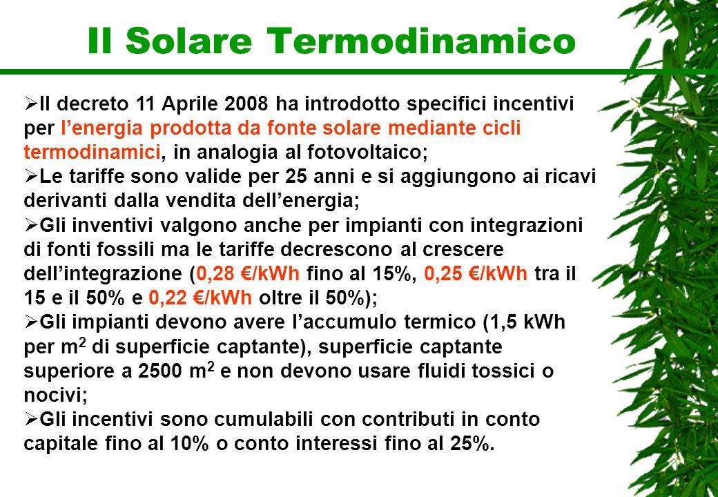 Il Solare Termodinamico Il decreto 11 Aprile 2008 ha introdotto specifici incentivi per lenergia prodotta da fonte solare mediante cicli termodinamici