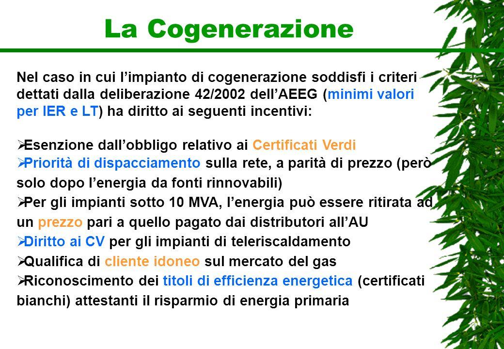 La Cogenerazione Nel caso in cui limpianto di cogenerazione soddisfi i criteri dettati dalla deliberazione 42/2002 dellAEEG (minimi valori per IER e L