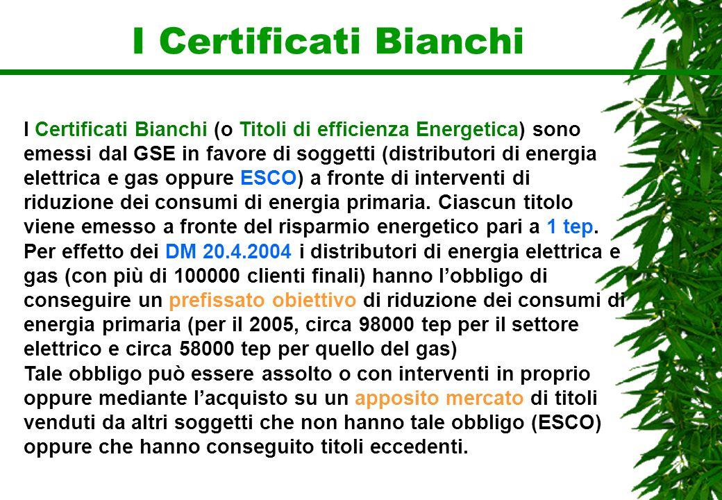 I Certificati Bianchi I Certificati Bianchi (o Titoli di efficienza Energetica) sono emessi dal GSE in favore di soggetti (distributori di energia ele