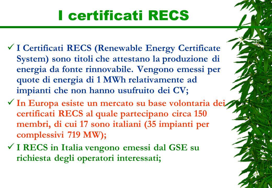 I certificati RECS I Certificati RECS (Renewable Energy Certificate System) sono titoli che attestano la produzione di energia da fonte rinnovabile. V