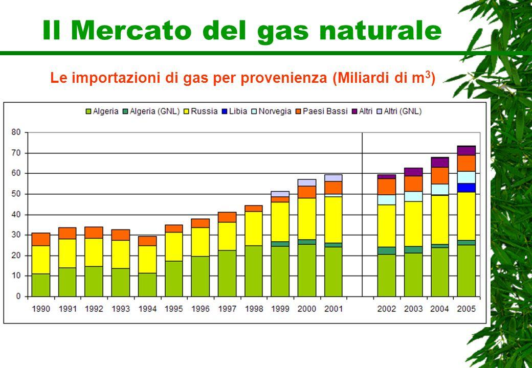 Le importazioni di gas per provenienza (Miliardi di m 3 )