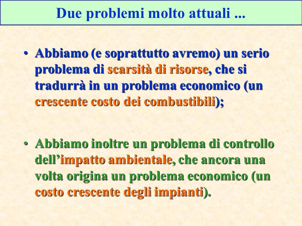 Due problemi molto attuali... Abbiamo (e soprattutto avremo) un serio problema di scarsità di risorse, che si tradurrà in un problema economico (un cr